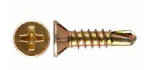 Саморезы оконный с уменьшенной потайной головкой с насечками для раззенковки, частая резьба, желтый цинк, сверло (КНР)