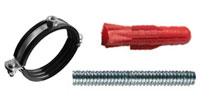 Комплект: - Хомут для труб + Шуруп - шпилька + Дюбель трех - распорный, Т - тип